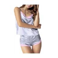 Conjuntinho de pijama cetim prata com rosa Ref 2327