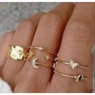 Conjunto de 6 anéis de liga dourada e cristais Ref 2884