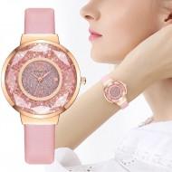 Relógio feminino com pulseira de couro Ref 2843