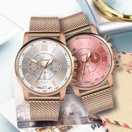 Relógio feminino aço inoxidável pulseira de couro Ref 2223