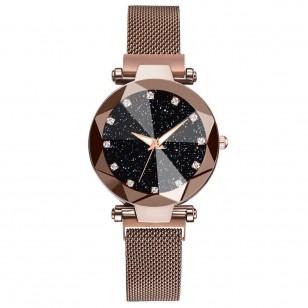 Relógio de pulso feminino com pedras brilhosas e fivela magnética Ref 2238