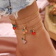 4 tornozeleiras douradas pingente de morango cereja uva Ref 2540