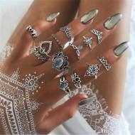 13 anéis conjunto feminino da moda 2021 em tendência Ref 2539