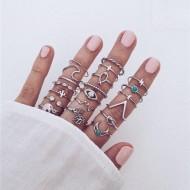Conjunto com 20 anéis da moda tendência feminino 2021