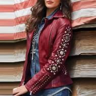 Jaqueta de couro feminina motoqueira Ref 1452