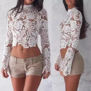 Blusa de renda manga longa branca Ref 1376