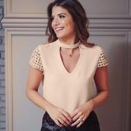 Blusinha cor creme moda blogueiras Ref 1339