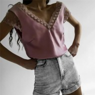 Blusa rosa tule bordados cetim Ref 1351
