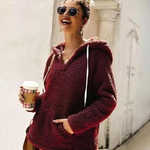 Blusa feminina de inverno com capuz pele Ref 1411