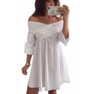 Vestido branco decote trançado manga longa Ref 1344
