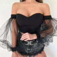 Blusa ombro a ombro ciganinha manga em tule Ref 1412
