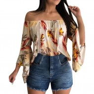 Blusa manga flare floral ombro a ombro Ref 1323