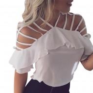 Blusa branca em chiffon com tiras Ref 1334