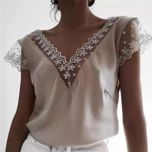 Blusa feminina luxo com tule e bordados Ref 1350