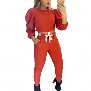 Conjunto Arícia manga longa bufante calça e blusa Ref 2372