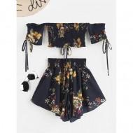 Conjunto com saia e blusa sem alça com estampa floral Ref 2149