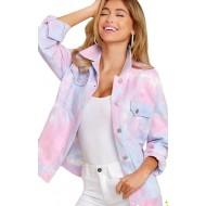 Jaqueta feminina estampa tie dye com gola e botões Ref 2320