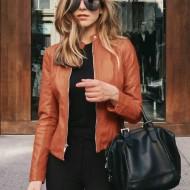 Jaqueta feminina slim couro moda inverno Ref 2886
