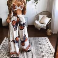 Conjunto top e calça pantalona estampa de borboleta Ref 2888
