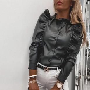 Jaqueta em couro feminina com babados frontal Ref 2948