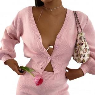 Conjunto rosa manga longa blusa e shortinho Ref 2383