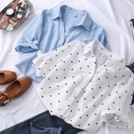 Camisa feminina elegante social de botão estampa poá Ref 2430