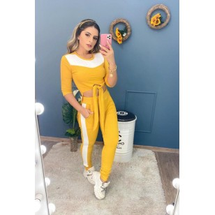 Conjunto feminino calça e blusa mullet manga 3 quartos verão Ref 2381