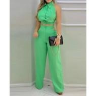 Conjunto elegante social top e calça pantalona Ref 2897