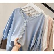 Blusa vintage de botões feminina luxo Ref 2200