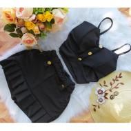 Conjuntinho feminino short saia e cropped top com bojo Ref 2511