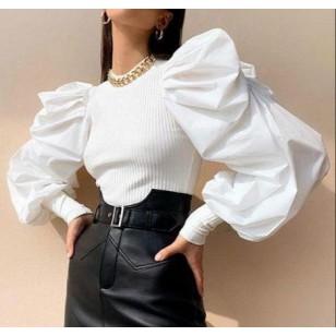 Blusa com manga bufante inverno elegante Ref 2819