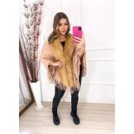 Poncho de lã peluciado luxo inverno Ref 2979