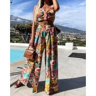 Conjunto top crop e calça chique floral moda casual Ref 3003