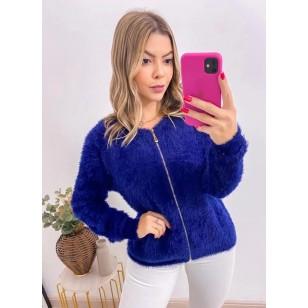 Blusa de frio feminina casaco de pelinho com zíper Ref 2972