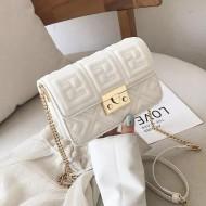Bolsa messenger clutch branca luxo Ref 1276
