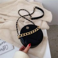 Bolsa redonda de couro feminina luxo Ref 1273