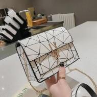 Bolsa estampa geométrica luxo com corrente Ref 1123