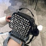 Bolsa preta luxo com pedras brilhantes Ref 1174