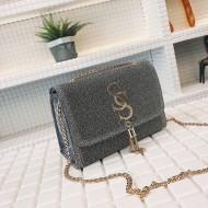 Bolsa de mão glitter luxo brilho com alça de corrente Ref 2436