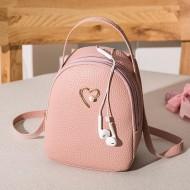 Bolsa feminina com alças mochila detalhe coração Ref 2165