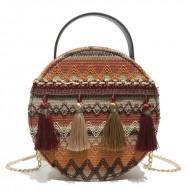 Bolsa artesanal de fios lã bordado Ref 2596