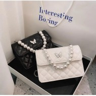 Bolsa de luxo feminina alça de pérolas e corrente Ref 2243