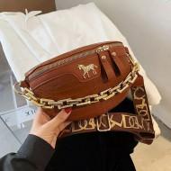Bolsa de luxo feminino corrente dourada e zíper Ref 3364