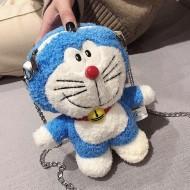 Bolsa Doraemon de pelúcia mangá azul Ref 2618