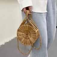 Bolsa feminina bambu madeira de praia verão Ref 3363