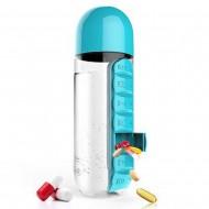 Garrafa de água 600ml com estojo cápsulas comprimidos vitaminas Ref 2273
