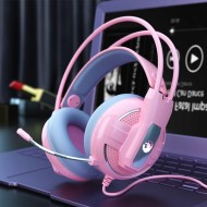 Fone de ouvido gamer rosa super promoção Ref 2593