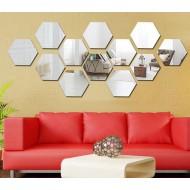 Espelho decorativo hexagonal 12 unidades Ref 1620