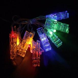 Cordão grampos de luzes led varal de fotos 10 prendedores 1,5 metros Ref 2221