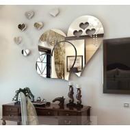 Espelho de parede adesivo formato de corações Ref 1994